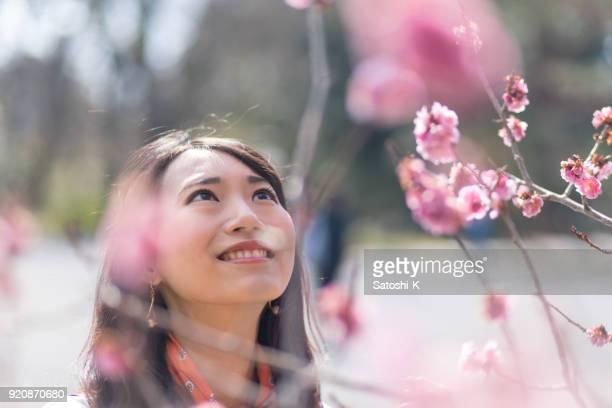 梅の花と春を楽しんでいる若い女性
