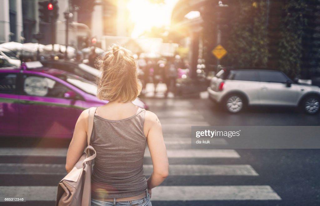 Young woman exploring streets of Bangkok : Stock Photo