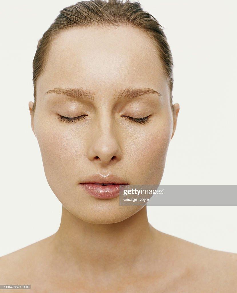 Young Woman Eyes Closed Closeup Stock Photo
