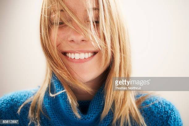 young woman, eyes closed portrait - toothy smile stock pictures, royalty-free photos & images