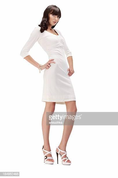 Junge Frau Mode Portrait auf weißem Hintergrund