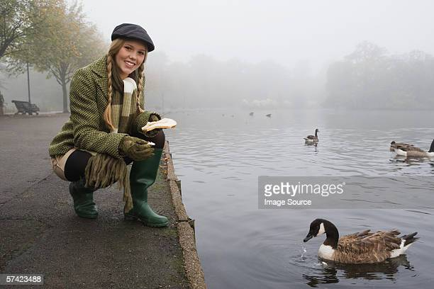 Young woman feeding goose in park