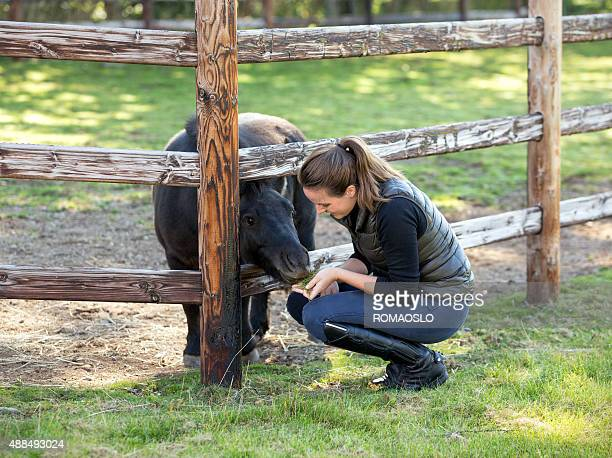 Young woman feeding miniature pony, Norway