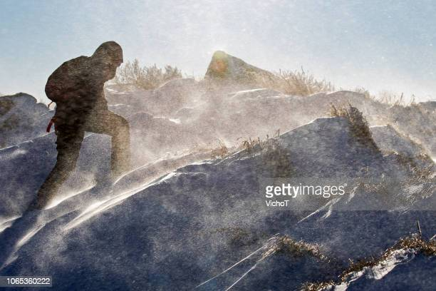 young woman fighting with the wind during a mountain climb - the four elements stock pictures, royalty-free photos & images