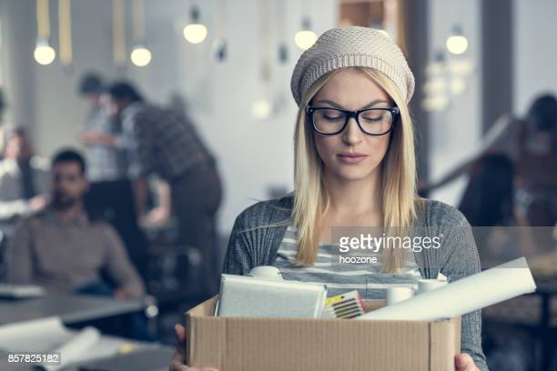 young woman fired from work - quitting a job stock pictures, royalty-free photos & images