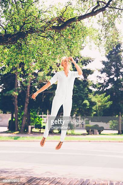 Young Woman Floating in the Mid Air