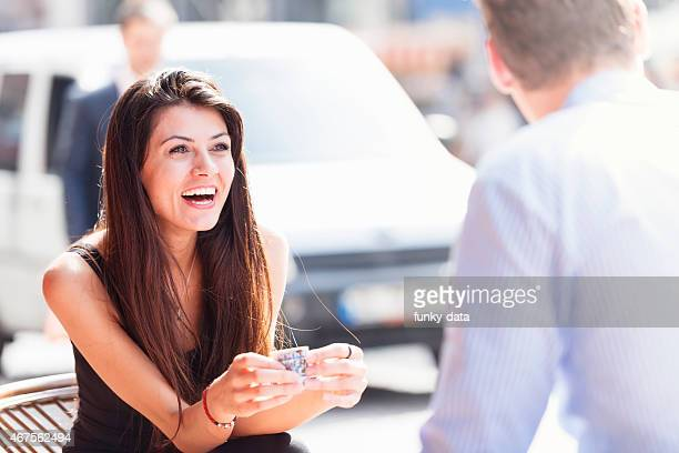 Young woman fortune telling with Turkish coffee