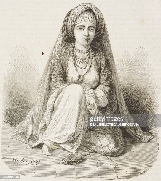 Young woman from the Illiati tribe from Varamin, Iran, drawing by Duhousset, from Hunting in Persia by Emile Duhousset , from Il Giro del mondo ,...