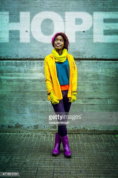 young woman full of hope - black boot stock pictures, royalty-free photos & images