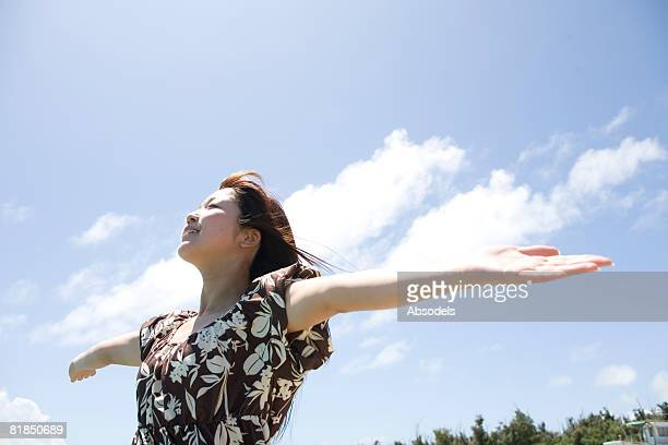 Young woman getting fresh air