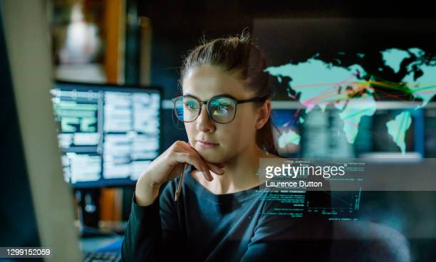 young woman global communications - education stock pictures, royalty-free photos & images