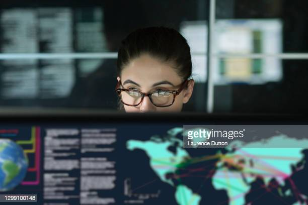 young woman global information displays - smart stock pictures, royalty-free photos & images
