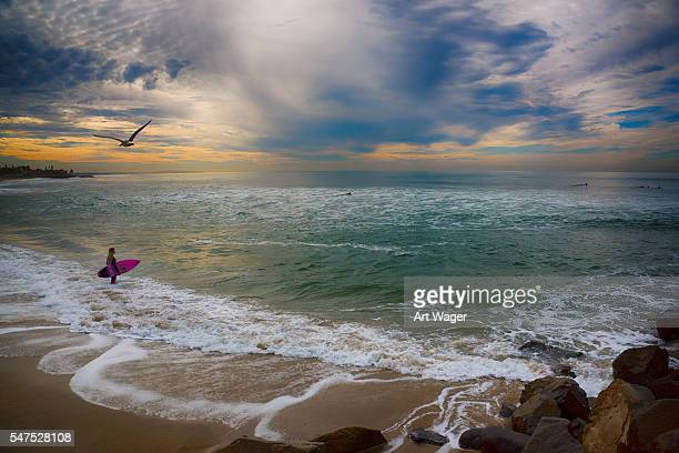 young woman going surfing in southern california - carlsbad california stock pictures, royalty-free photos & images