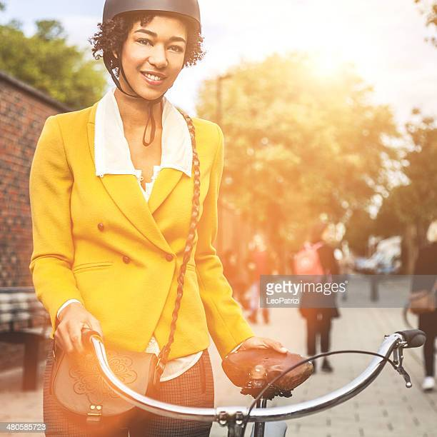 Young woman going to work