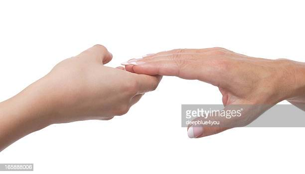 Young woman hand holding  mature hand isolated