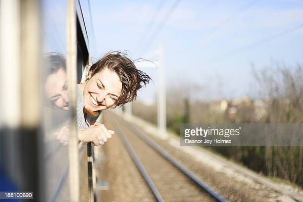 Young woman happy to be travelling