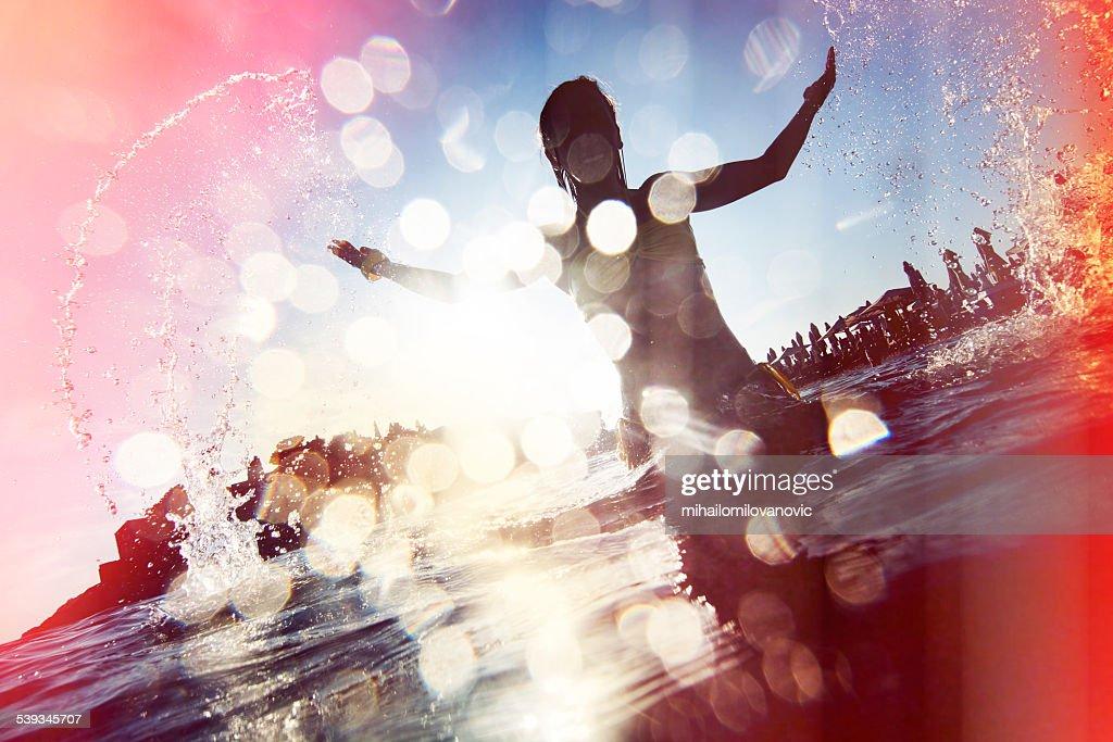 Young woman having fun : Stock Photo
