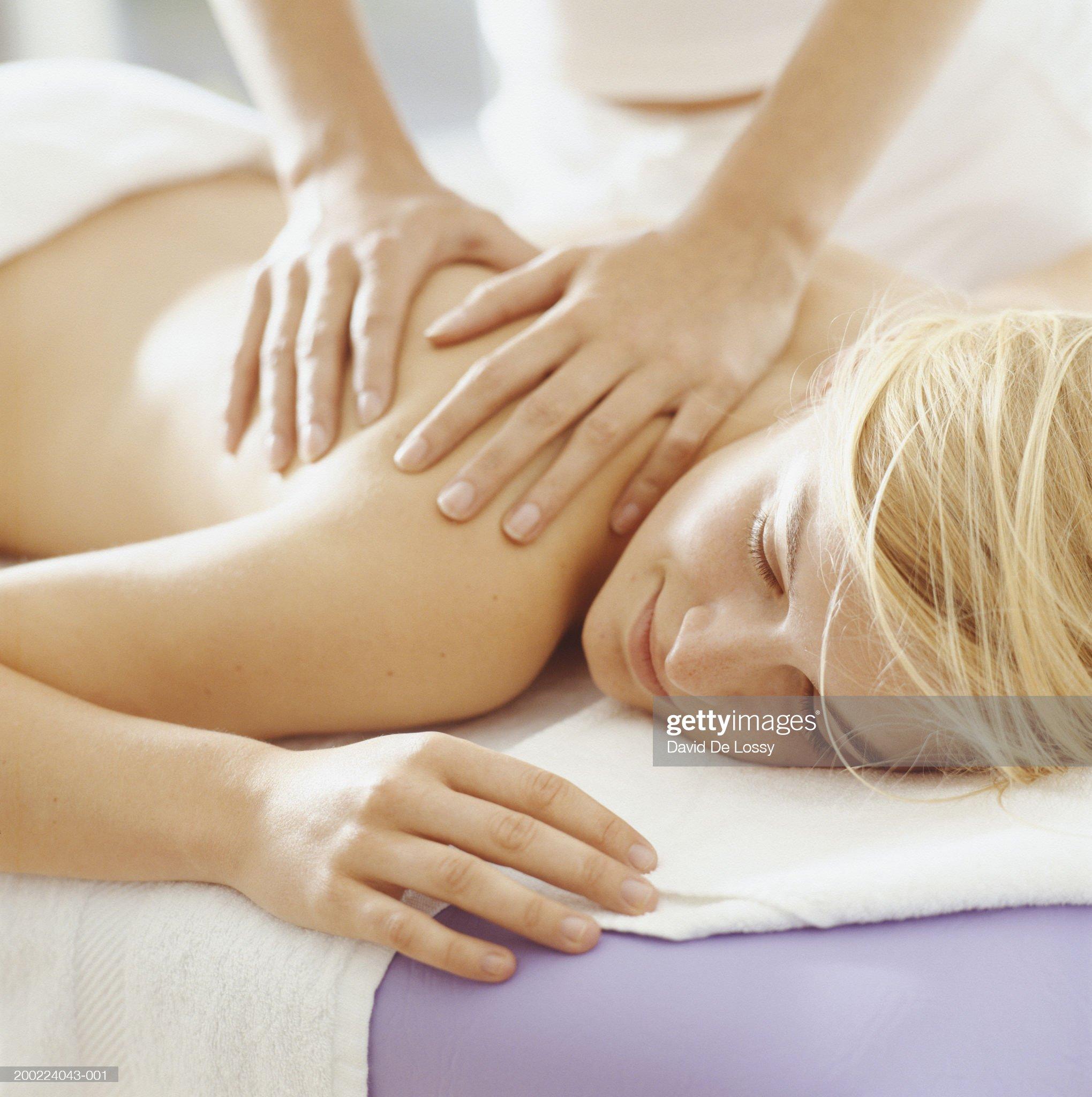 Young woman having massage, close-up : ストックフォト