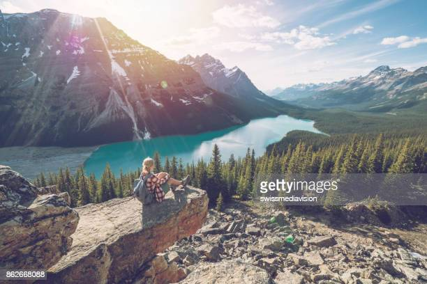 young woman hiker on top of mountain - banff national park stock pictures, royalty-free photos & images