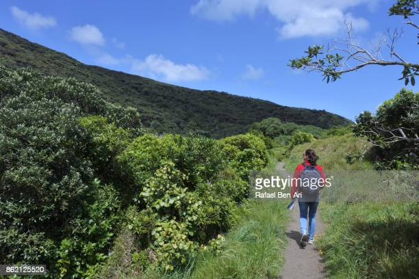 Young woman hikes solo in New Zealand