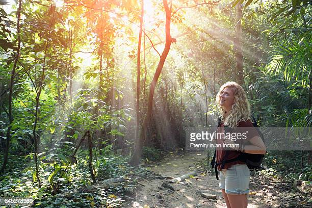 Young woman hiking in a rain forest