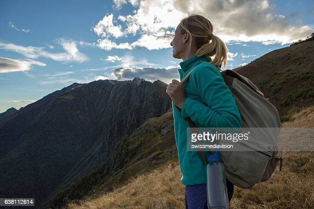 Young woman hiking in Autumn, Switzerland