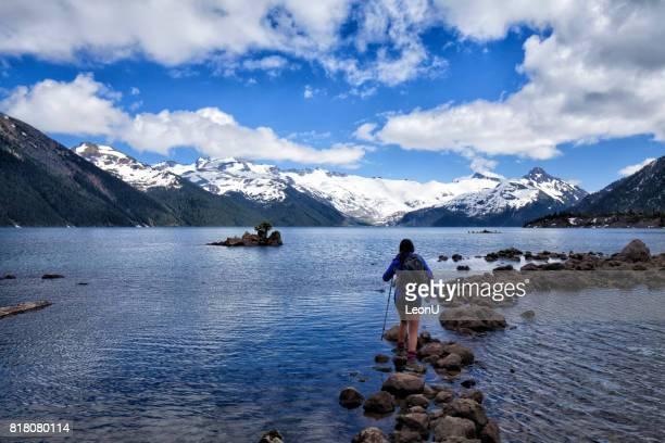 Young woman hiking in Garibaldi Lake, Squamish, BC, Canada