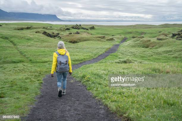 Young woman hiking in Iceland, rear view of person, Springtime overcast sky