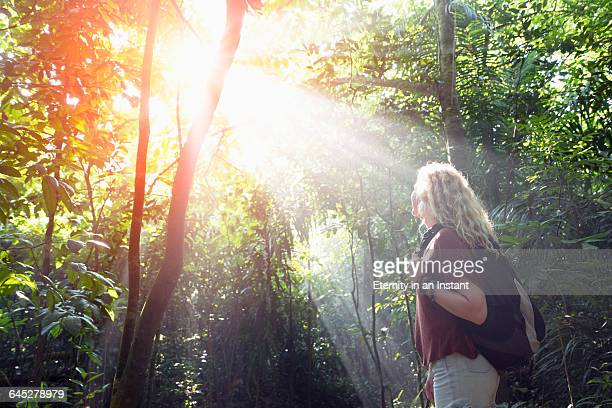 Young woman hiking in nature.