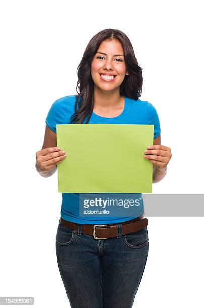 young woman holding a small blank sign - blank sign stock photos and pictures