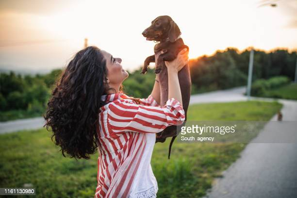 young woman holding dachshund - off leash dog park stock pictures, royalty-free photos & images