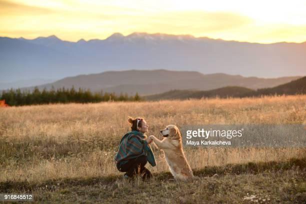 young woman holding her golden retriever dog on idyllic valley at sunset - golden retriever fotografías e imágenes de stock