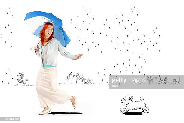 Young Woman Holding Umbrella Running in Cartoon Rain with Dog