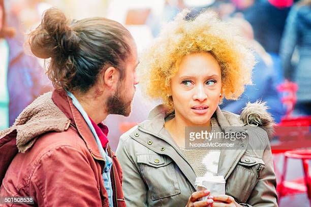 young woman horrified by her friend's suggestion - uncomfortable stock pictures, royalty-free photos & images