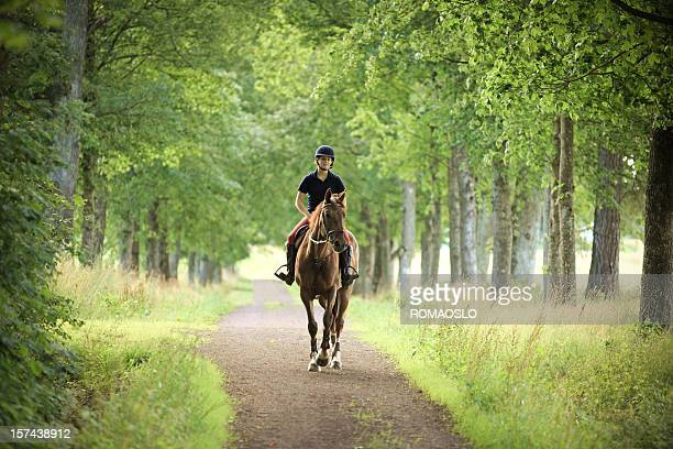 Young woman horseback riding on a romantic road, Norway