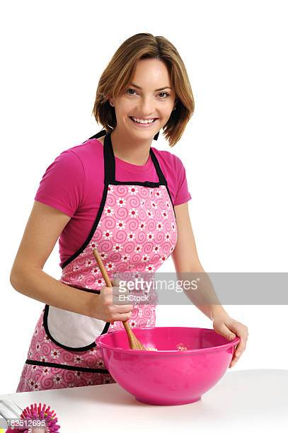 Young Woman Housewife Mixing Cookie Dough Isolated on White Background