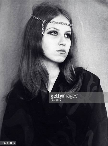 young woman in 1968,black and white. - hippie woman stock photos and pictures