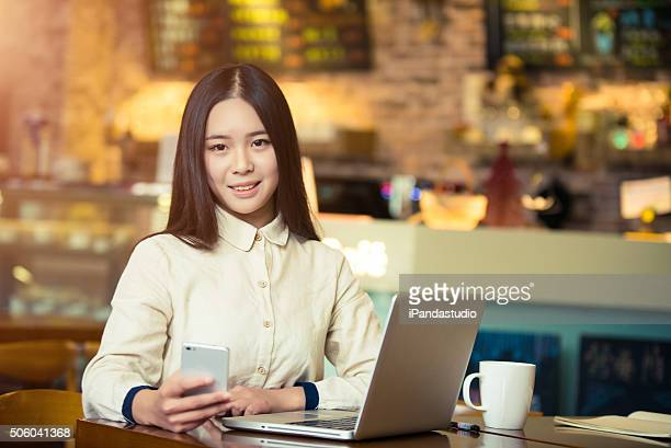 young woman in a coffee house
