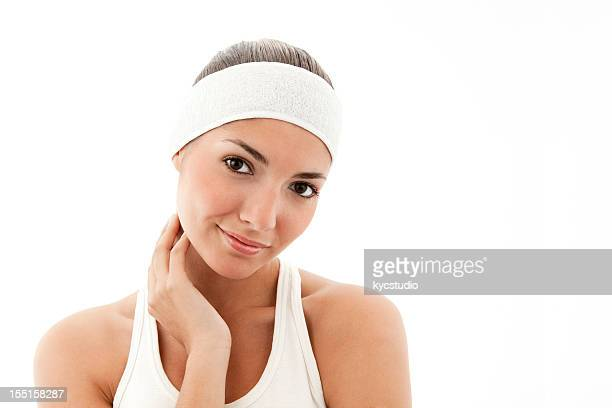 Young Woman in a Cosmetics Headband - Isolated