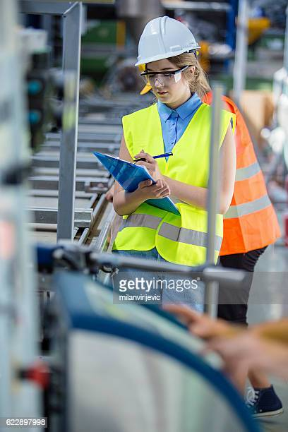Young woman in a factory
