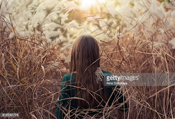 Young woman in a high grass going towards the sun