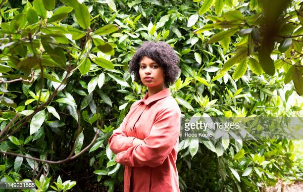 a young woman in a park. - stubborn stock pictures, royalty-free photos & images