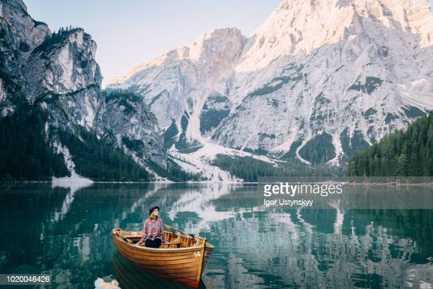 Young woman in a rowing boat