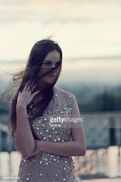 Young woman in a sparkling sequin