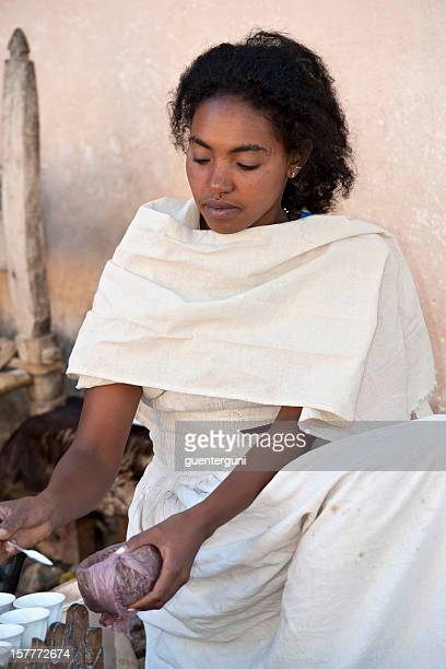 Young woman in a traditional coffee ceremony, Ethiopia