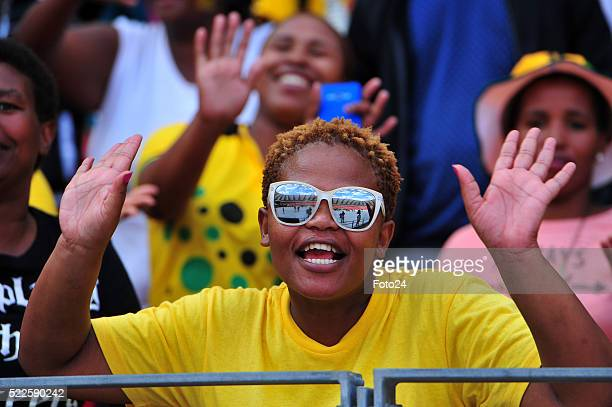 A young woman in African National Congress regalia during the partys manifesto launch at the Nelson Mandela Bay stadium on April 16 2016 in Port...