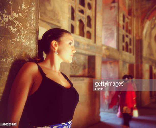 Young Woman In Agra Fort. India.