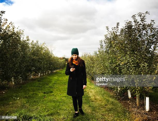 Young Woman in Apple Orchard in Late Fall