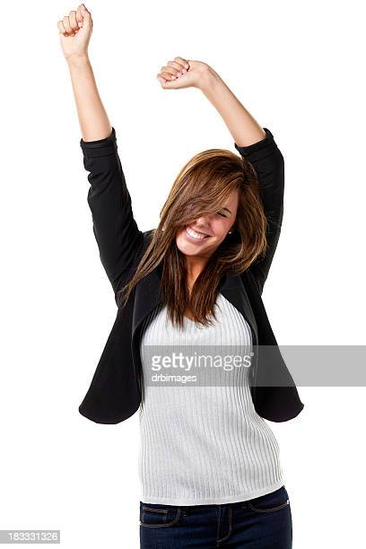 Young woman in black jacket and white shirt looking happy