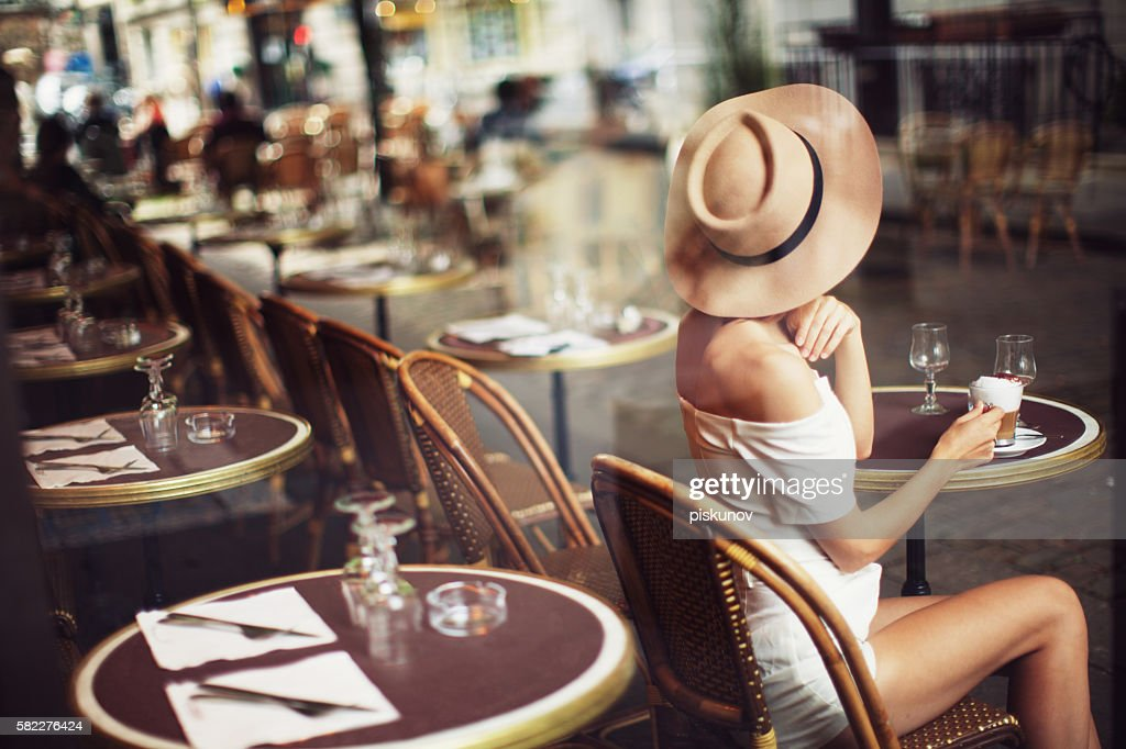 Young Woman in Cafe : Stock Photo